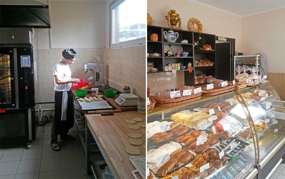 Пекарня- кафетерий и её внутренние интерьеры.