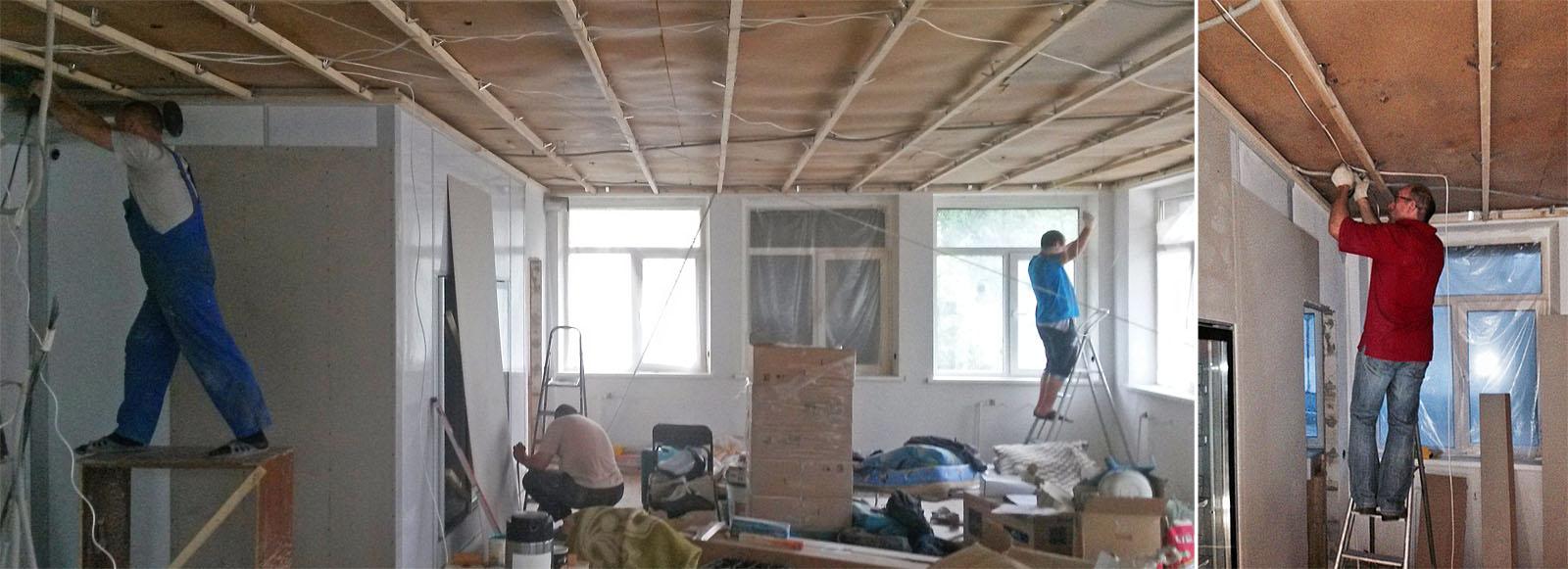 По всему потолку протянулись провода видеонаблюдения и акустики